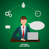 Technical support man operator flat  icon eps 10 Stock Images