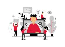 Technical support online, operator is talking to the client, 24h customer service for web page, hotline support, virtual. Help service - vector illustration vector illustration