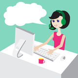 Technical support by phone, woman with headset, flat design-illustration Royalty Free Stock Photo