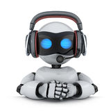 Technical support robot. Technical support. Robot in headphone. 3d illustration Royalty Free Stock Photo