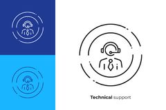 Technical support staff line art vector icon stock illustration