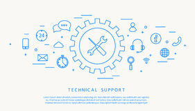 Technical support thine line design Royalty Free Stock Image