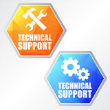 Technical support with tools sign and gear wheels, two colors he Stock Images