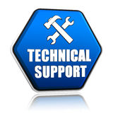 Technical support and tools sign in hexagon button. Technical support and tools sign, 3d blue hexagon button with text royalty free stock photos