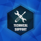 Technical support with tools sign over dark blue background, fla Royalty Free Stock Photography