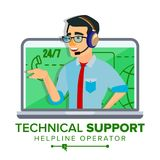 Technical Support Vector. Global Tech Support. Business Maintenance. Operator And Customer. Flat Isolated Illustration. Technical Support Vector. 24 7 Support Royalty Free Stock Photos