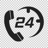 Technical support 24/7 vector icon in flat style. Phone clock he. Lp illustration on isolated transparent background. Computer service support concept Stock Photos