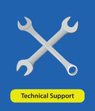Technical support vector symbol sign with wrench and blue background Royalty Free Stock Images