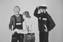 Technical task. Brigade of workers, builders in helmets, repairers and lady discussing contract, grey background. Recruitment concept. Brigadier, foreman royalty free stock image