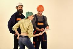 Technical task concept. Brigade of workers, builders in helmets, repairers and lady discussing contract, white. Background, copy space. Brigadier, foreman speak royalty free stock photo