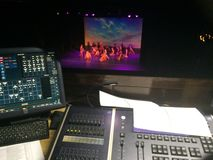 Technical Theatre. Programming lighting for a dance show Stock Photos