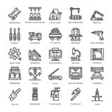 Technical Tools and Machines Line Icons Set royalty free illustration