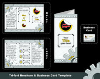 Tri-fold depliant and business card template Stock Images