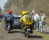 Technical Vehicles in The Forest of Arenberg- Paris Roubaix 2015 stock photography