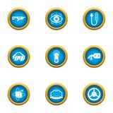 Technical weapon icons set, flat style. Technical weapon icons set. Flat set of 9 technical weapon vector icons for web isolated on white background Stock Photography