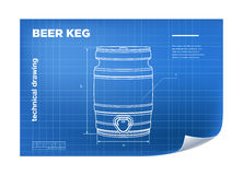 Technical wireframe Illustration with beer keg Royalty Free Stock Photography