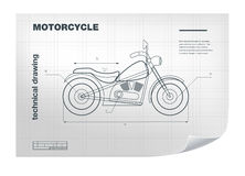 Technical wireframe Illustration with motorbike drawing on the white blueprint Royalty Free Stock Photography