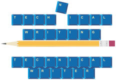 Technical Writing. Vector conceptual illustration of technical writing and a technical writer through computer keyboard keys Royalty Free Stock Images