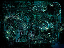 Technically electronic background, 3D illustration. A Technically electronic background with device objects, 3D illustration Royalty Free Stock Photo
