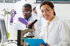 Technici die Onderzoek naar Laboratorium uitvoeren stock afbeeldingen