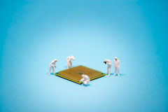 Technician analysis CPU microprocessor royalty free stock image
