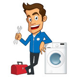 Technician. Appliance repair expert, he has a toolbox and a washing machine Royalty Free Stock Photos