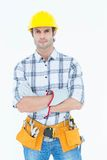 Technician with arms crossed over white background Royalty Free Stock Image