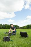 Technician Assembling UAV Helicopter Royalty Free Stock Photography