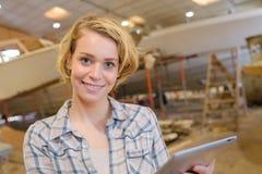 Technician in boat yard. Technician in a boat yard stock image
