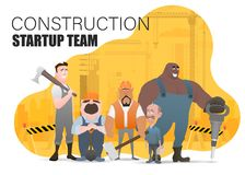 Technician and builders and engineers and mechanics and Construction Worker teamwork ,illustration cartoon character. Landing page slide template royalty free illustration
