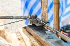 Technician bundle wire steel rod for construction job Stock Photo