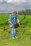 Technician calibrating multicopter' compass pilot Stock Images