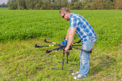 Technician calibrating multicopter compass pilot Stock Images