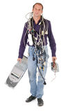 Technician carrying computer Royalty Free Stock Photo