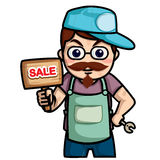 Technician cartoon ,man hold lable sale or service. Man was technician stand hold tthe wood label for sale service or product Stock Photos