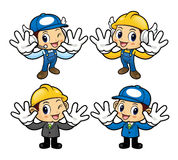 Technician Character is instructing holding a board. Stock Photography