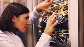 Technician checking cables in a rack mounted server. Close-Up of technician checking cables in a rack mounted server 4k stock footage