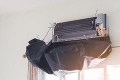 Air, conditioner, service, conditioning, cleaning, repair, asian royalty free stock images