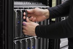 IT Consultant install Blade Server Stock Image