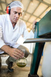 Technician examining olive oil produced from machine. In factory Stock Image