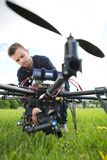 Technician Fixing Camera On Spy Drone Stock Photography