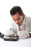 Technician and hard disk Stock Photography