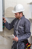 Technician  for heating system. Technician servicing the gas boiler for hot water and heating Stock Photo
