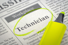 Technician Hiring Now. 3D. A Newspaper Column in the Classifieds with the Jobs of Technician, Circled with a Yellow Highlighter. Blurred Image with Selective Royalty Free Stock Photography