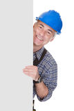 Technician Holding Blank Placard Royalty Free Stock Image