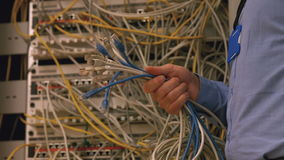 Technician holding bunch of cables stock video