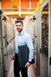 Technician holding a server Stock Images