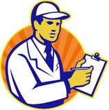 Technician Inspector Worker Clipboard Retro Stock Photography