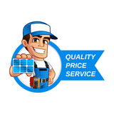 Technician installer of solar panels Stock Photo