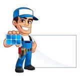 Technician installer of solar panels Stock Image